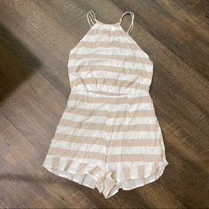LF white tan stripe romper medium